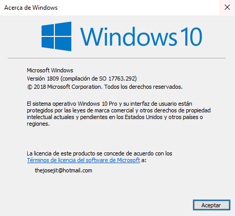 Aplicacion Winver de Windows para saber tu Version