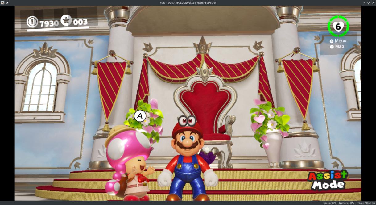 Super Mario Odyssey funciona casi a la perfeccion en el emulador de Nintendo Switch