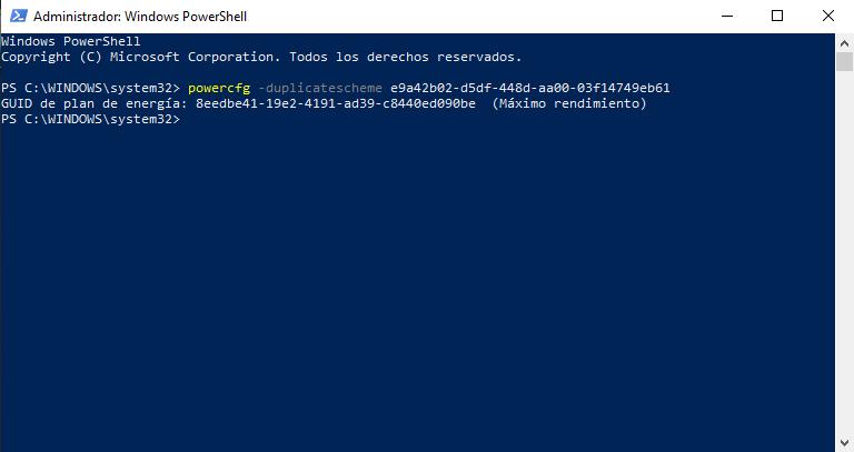 Windows PowerShell nos permite habilitar el modo Maximo Rendimiento mediante un simpre codigo