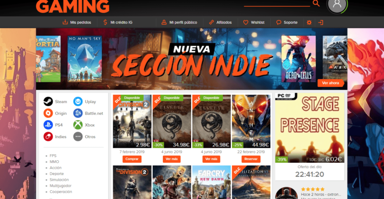 Instagaming es una famosa web de venta de claves de videojuegos